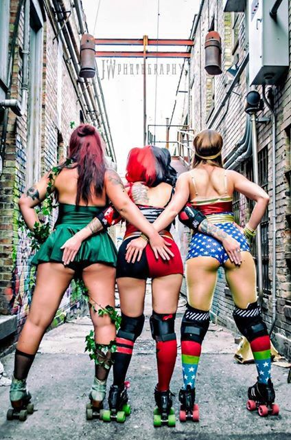 Poison Ivy, Harley Quinn, Wonder Woman roller derby photo and cosplay.  Image by Josh Wees.