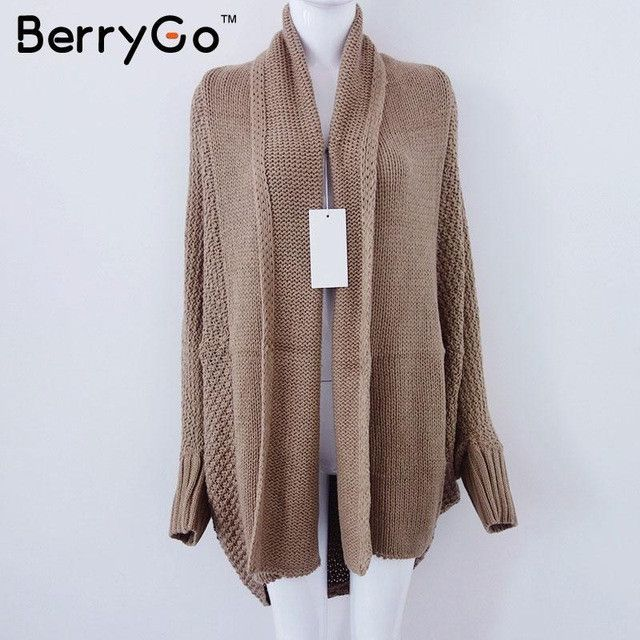 BerryGo batwing sleeve knitted cardigan sweaters women Fashion oversized shrug sweater Autumn winter warm long sweater jumpers
