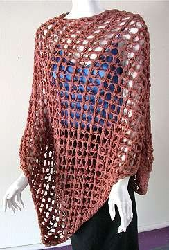Open Mesh Poncho Knitting Pattern - free from www.knittingonthenet.com