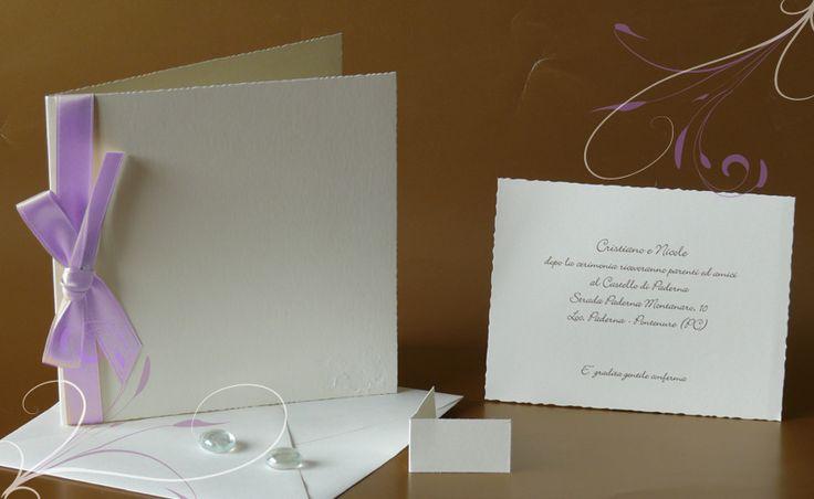 Partecipazioni di nozze, con nastro in raso color lavanda