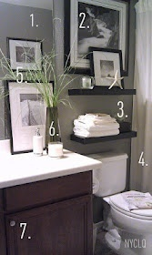 1. Paint walls with an existing neutral color (grey) 2. Cover an awkward windowwith a picture3. Floating shelves add storage + display 4. Window panels as shower curtains add height 5. Personal photos shot + framed 6. Details: greens - even faux - give life to a space + scented candle keep space smelling fresh.7. Add door knobs to cabinet (these I had kept from when I switched the FL kitchen drawer knobs to cup pulls). #Recipe #hair #food #DIY