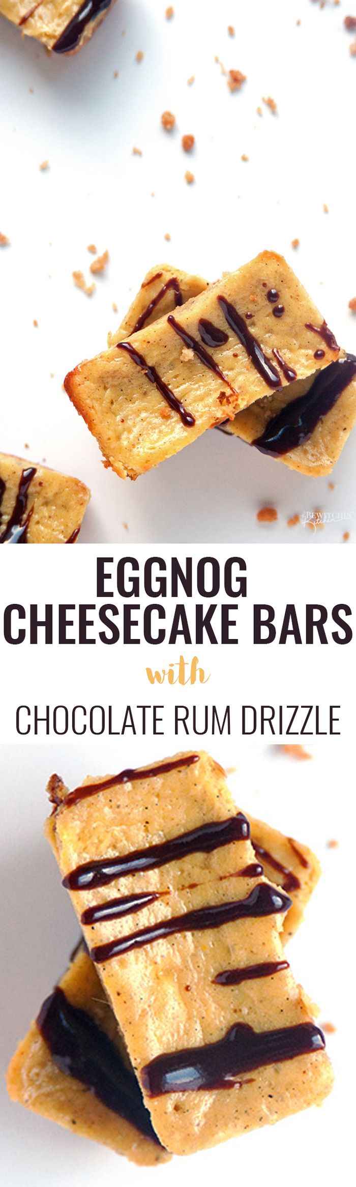 Eggnog Cheesecake Bars with a Chocolate Rum Drizzle - Oh my gosh! This recipe is simple and easy to make and is an Epicure favorite of mine. Perfect for Christmas parties| thebewitchinkitchen.com via @RandaDerkson