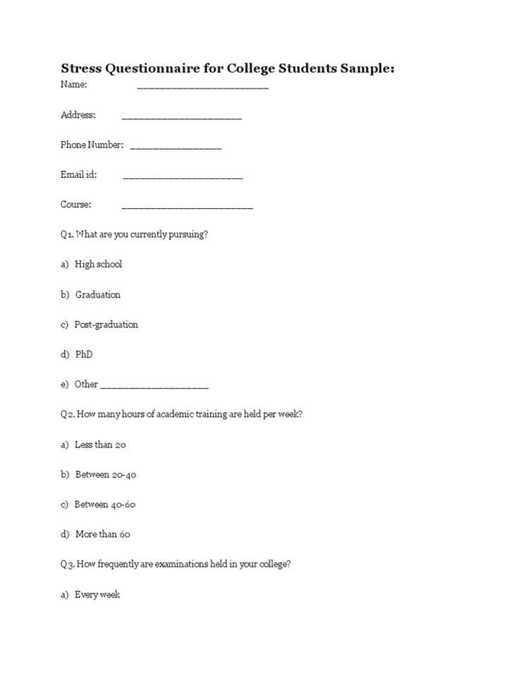 questionnaire for managers