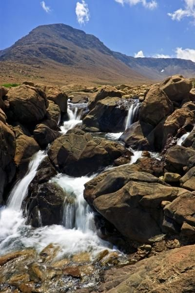 Photo of a waterfall along the Tablelands Trail in Gros Morne National Park, Newfoundland.