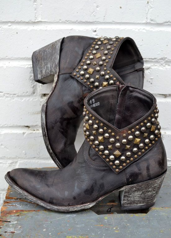 Rock out in these studded ankle booties, made by Mexican boot masters Old  Gringo. Dark chocolate distressed leather all over with a zipper closure,  and high heel.