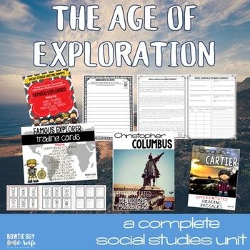 This Famous European Explorers unit includes 18 resources about the Age of Exploration-everything you need for your students to learn about new world explorers including: Christopher Columbus Vasco Nunez Balboa  Juan Ponce de Leon  John Cabot  Henry Hudson  Jacques Cartier  *PLEASE* take a moment to download the preview and see a glimpse of the resources included!