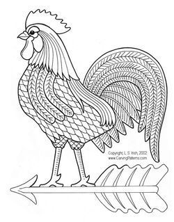 applique patterns of chicken and roosters | www.CarvingPatterns.com