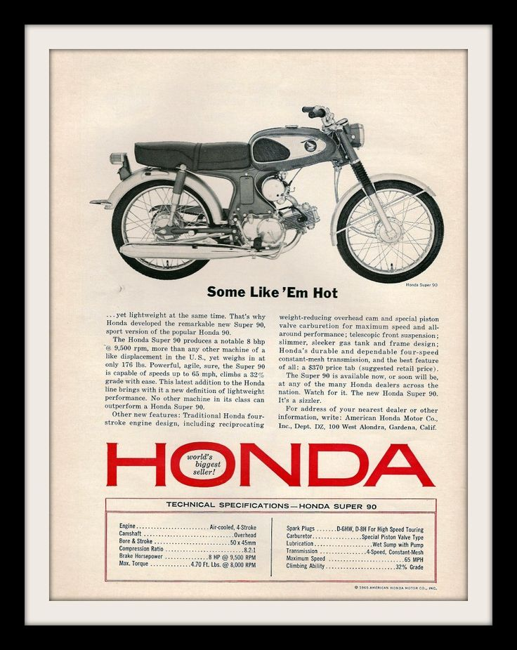 """Some Like 'Em Hot"" 1965 Advertisement features a Honda Super 90 motorcycle. Detailed in black and white. It was used on Mad Men season 4, episode 5 (The Honda episode). Don Draper and Peter Campbell"