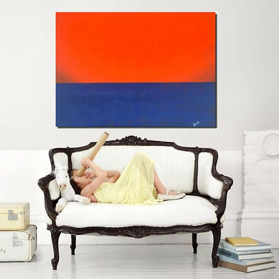 abstract artwork modern painting contemporary art red blue art
