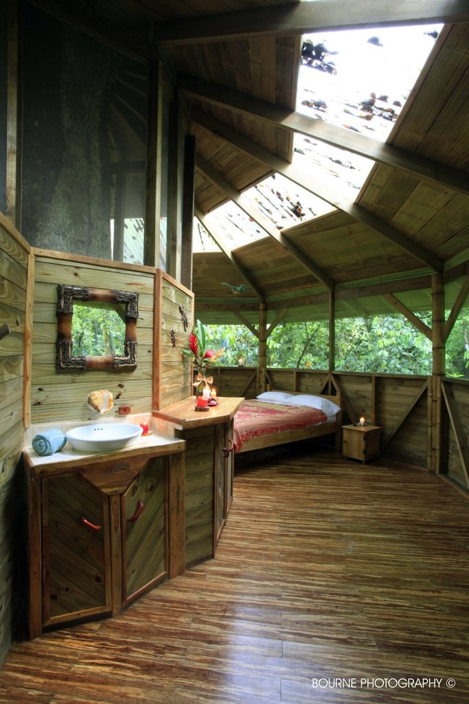 Finca Bella Vista Treehouses in Costa Rica $150 per night give or take 50.