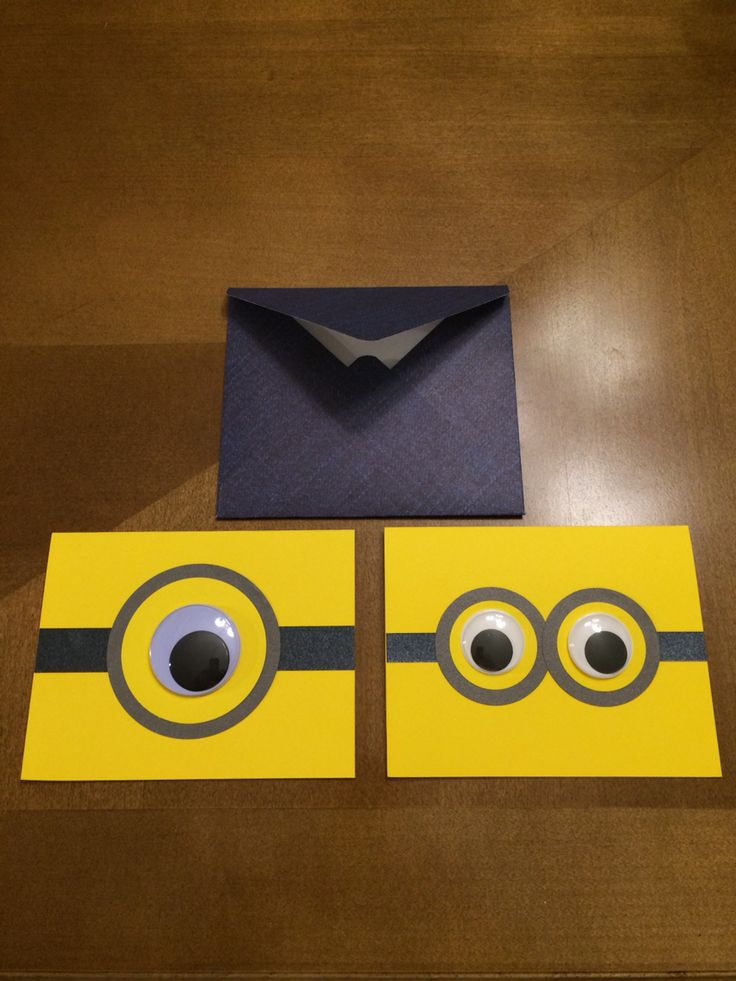 Minion theme party invitations [This is the first Pinterest contribution originated by ME! I made the cards myself using cardstock and wiggly eyes! I also made the envelopes with paper that looks like denim (inspired by the minions' overalls)!]