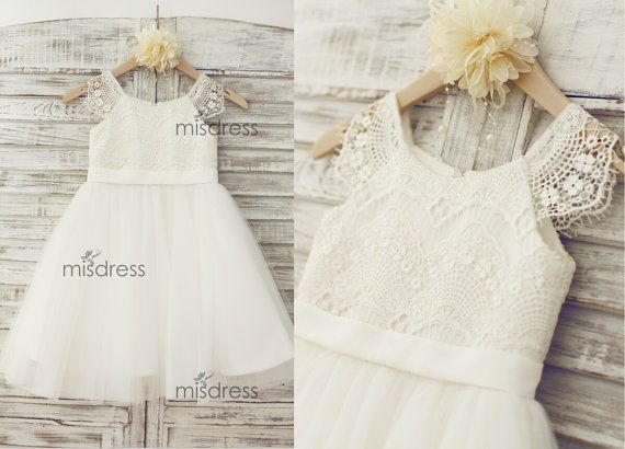 Lace Tulle Cap Sleeves TUTU Flower Girl Dress Wedding by misdress