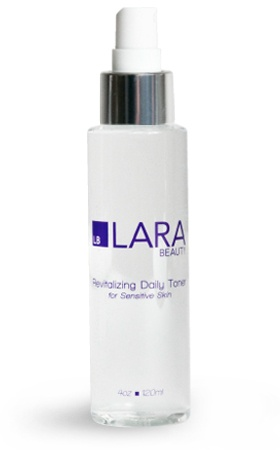 Lara Beauty Revitalizing Daily Toner for Sensitive Skin.  Rehydrate and stimulate repair with this alcohol-free toner for sensitive skin to promote a glowing complexion. Lara Beauty Revitalizing Daily Toner leaves skin feeling fresh and hydrated while restoring the natural pH balance to enhance penetration and absorption of Lara Beauty Anti-Aging Daily Therapy.