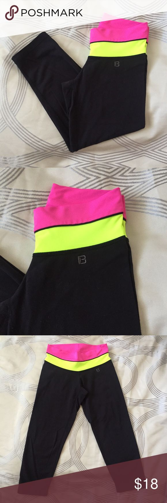 Body Language Crop Capri - Neon Yellow/Pink LA-based activewear brand, worn by celebrities like J. Lo & Miley Cyrus! These are in great condition. Also selling these capris with grey & mint bands. Neon yellow band is sold out. Body Language Pants Capris