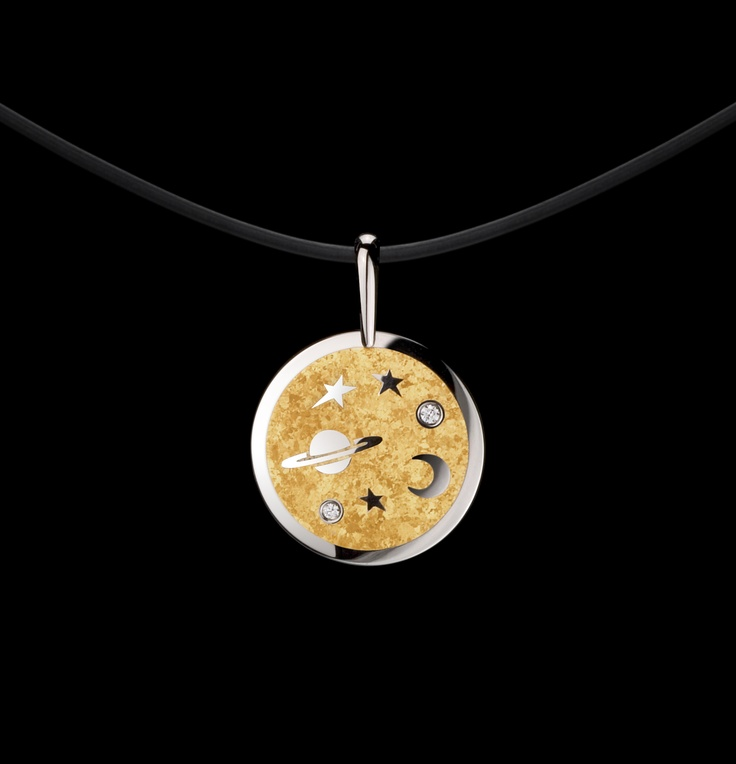 Steven Kretchmer's Large MoonBeam Pendant in Platinum, with a shiny finish. Featuring pure 24K fine crystallized Yellow Gold inlay with two Diamond melee stones 0.25ctw.
