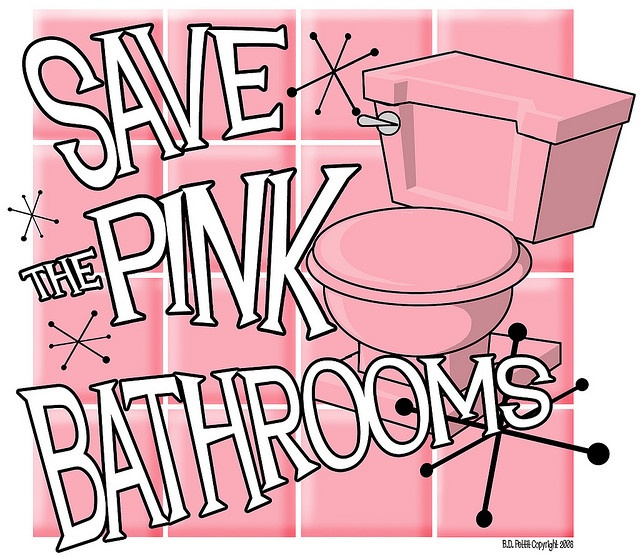 Save the pink bathrooms!  A cause I can REALLY get behind.: Small Bathroom Design, Pink Tile, Modern Bathroom Design, Photo Shared, Tile Bathroom, Bathroom Pink, Bathroom Interiors Design, Bathroom Decor, Pink Bathroom