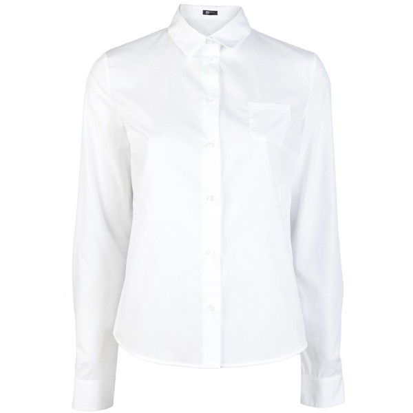 JIL SANDER NAVY Embroidered collar shirt ($250) ❤ liked on Polyvore featuring tops, school clothes, shirts, long-sleeve shirt, long sleeve tops, white collar shirt, white tops and white cotton tops