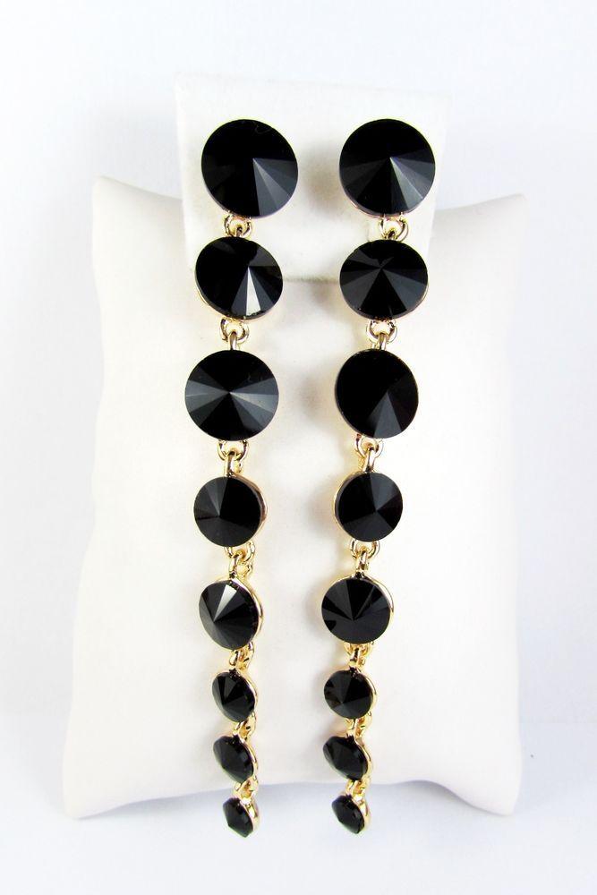 Gold Plated 18K GP Black Crystal Dangle Stud Earrings Women Jewellery