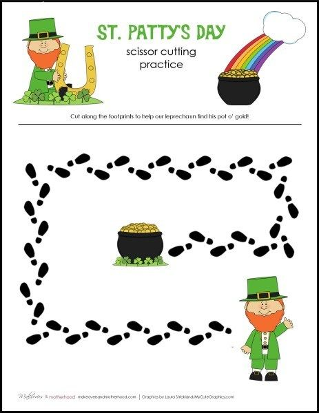 Free St. Patty's Day Scissor Cutting Practice Sheets  from Makeovers & Motherhood