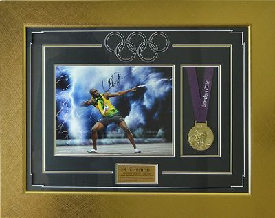 Usain Bolt Signed Photo Display with Replica Olympic Gold Medal - London 2012  fromTesco Direct  £399.95