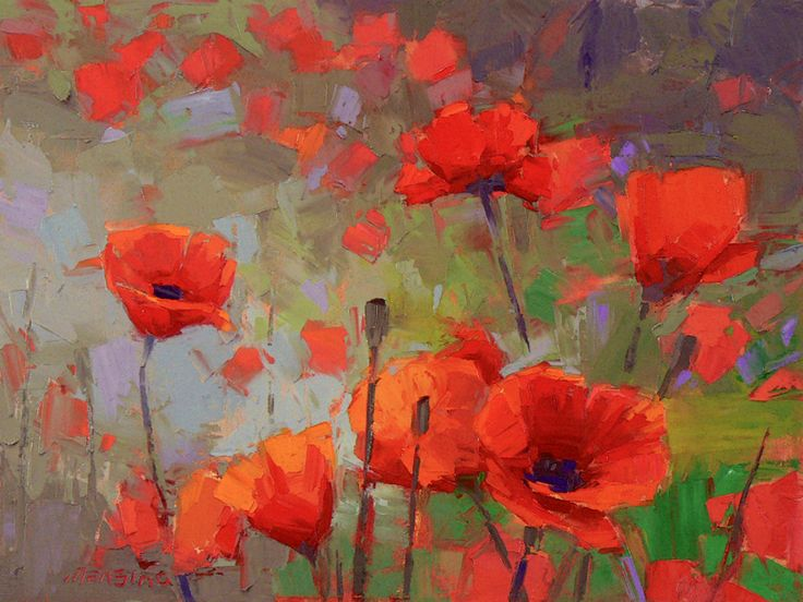 David Mensing Fine Art - Red Poppies at their Peak
