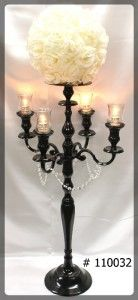 Black Candelabra 47 inch tall with plate and flower ball 4 glass votives 110032