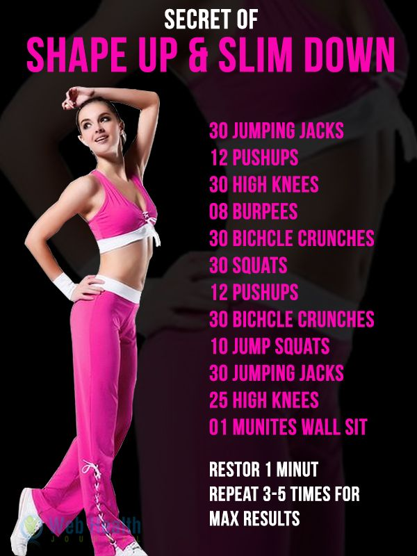 Secret of shape up & slim down. Fitness & Exercise tips : www.webhealthjournal.com/
