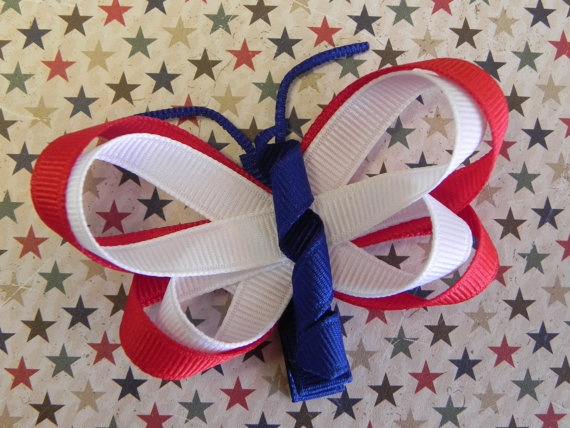 Fourth of July Butterfly Ribbon Sculpture Hair by sweetteabowtique, $3.00