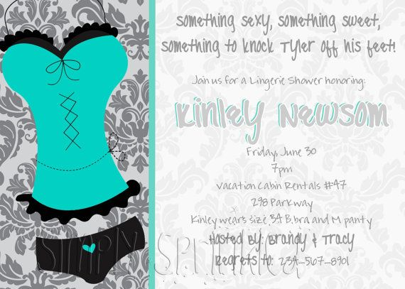 Lingerie Personal Shower Invitation DIY by SimplySprinkled on Etsy, $13.00