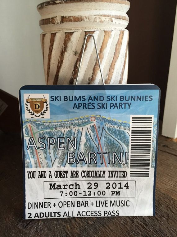 Our Ski Lift Ticket Save the Date announces your upcoming wedding in style! Welcome guests to your ski themed, winter, mountain wedding or party