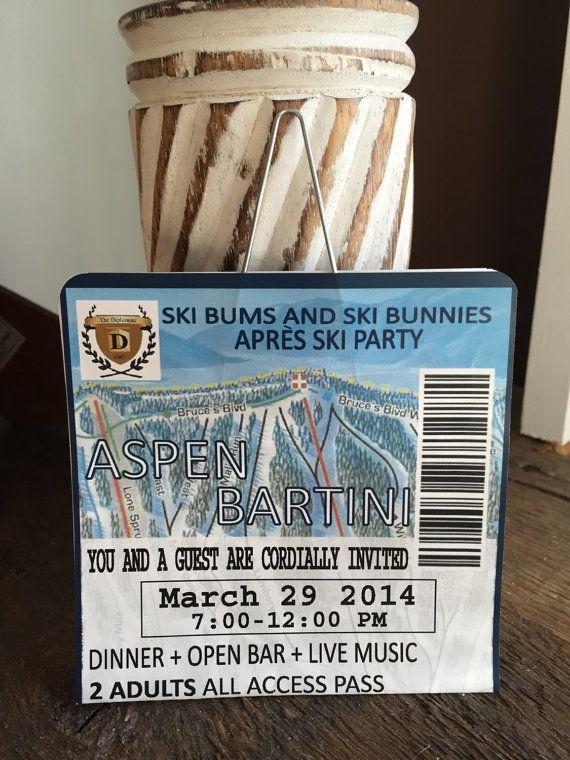 Ski Lift Ticket Invitation by sparkleandink on Etsy