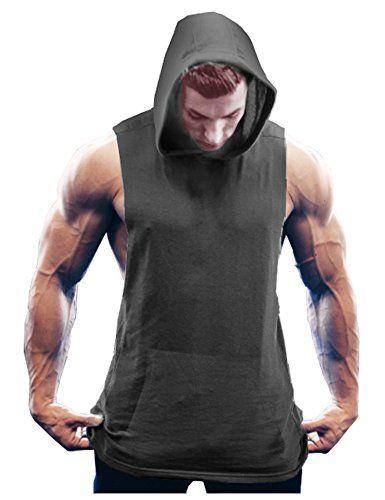 52b89a398006e Jinidu Men s Workout Hooded Tank Tops Bodybuilding Muscle T Shirt Sleeveless  Gym Hoodies