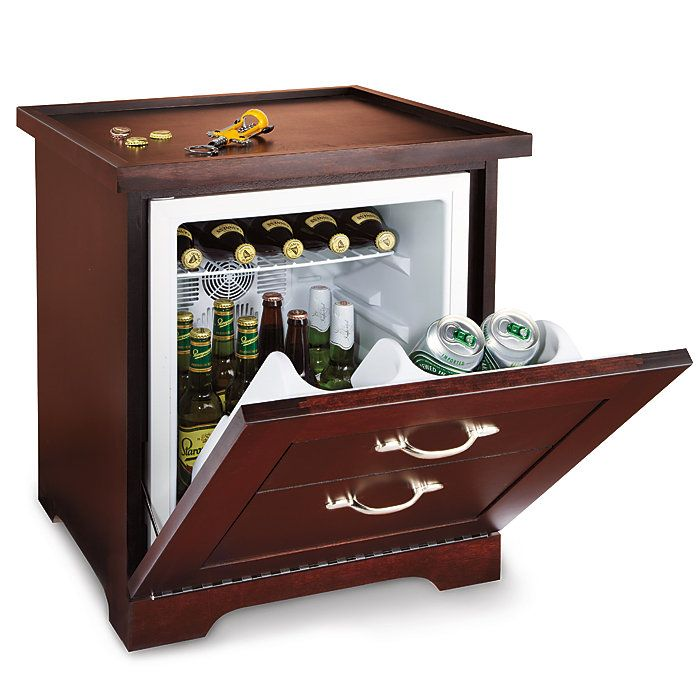 Man Table Mini Refrigerator End Table This would be great in a game room!