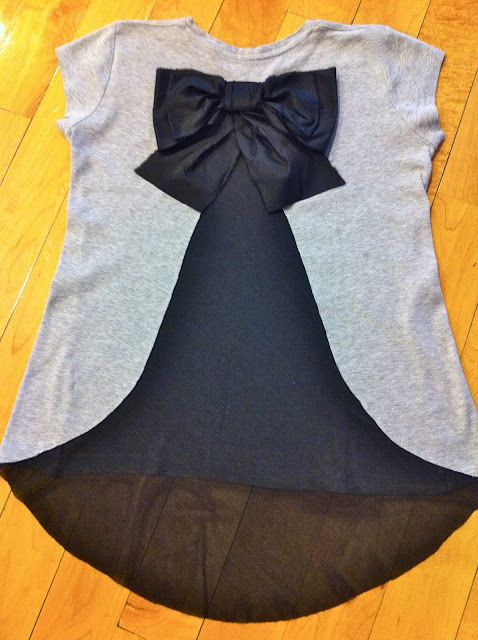 #DIY #fashion -- adding a sheer section with bow onto the back of a shirt in just 20 minutes!