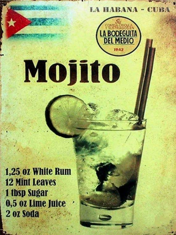 Mojito Havana Cuba Recipe Bar Pub Metal Wall Decor Sign Plaque Etsy In 2021 Mojito Havana Cuba Vintage Cuba