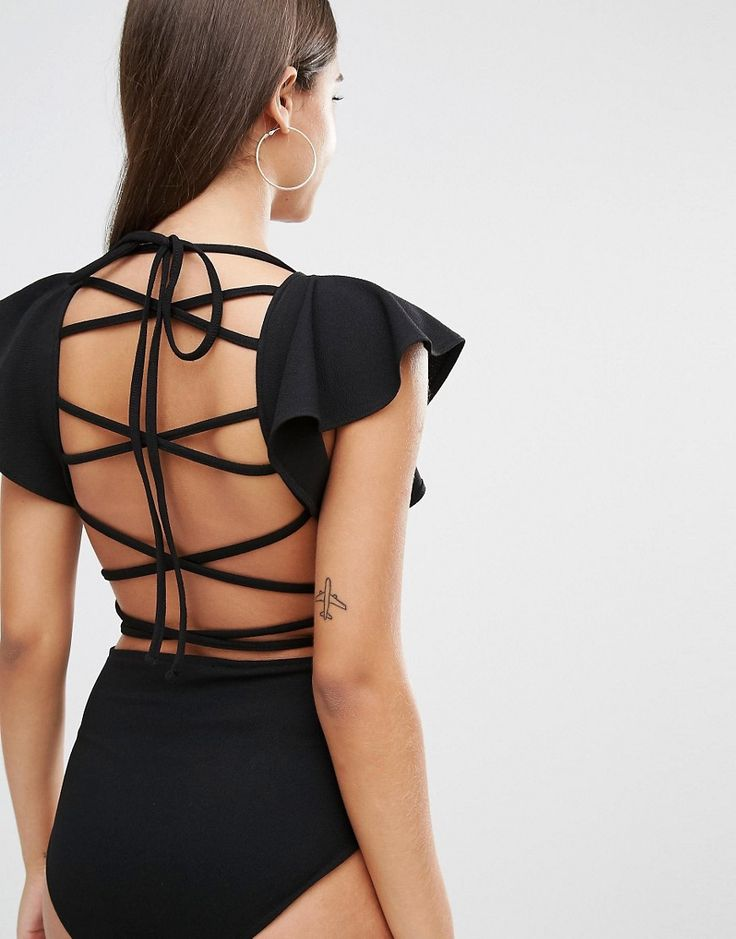 Image 1 ofOh My Love Frill Bodysuit With Strappy Back