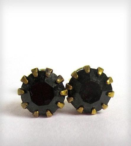 Vintage Black Post Earrings | These earrings feature jet black Swarovski rhinestones set in