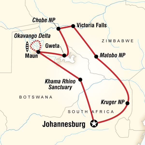 Map of the route for Southern Africa Encompassed