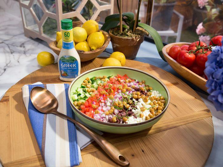 Creamy Greek Orzo Salad with Crispy Chickpeas recipe from Jeff Mauro via Food Network