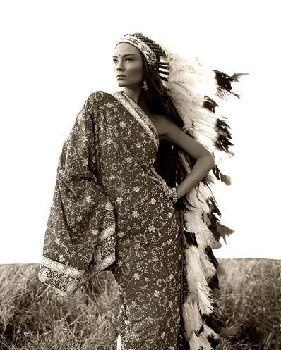 Native American Indian Model Feather headdress love...