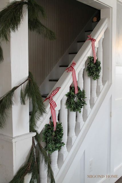 Stair Decorated For Christmas