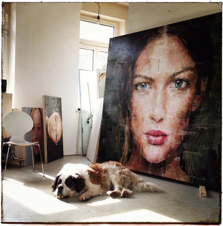 The combination of the dramatic art piece and that amazing dog... love this image!
