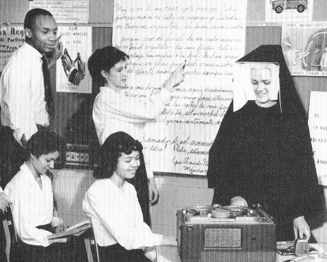 The BVM nuns during the 1950s. They were the Sisters of Charity of the Blessed Virgin Mary. Some were from Ireland. We had a tape recorder like that.