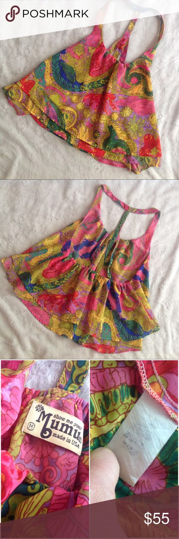 Show Me Your Mumu Nola Paisley Squirrel Strap Top Excellent used condition. Squirrel Strappy Top by Show Me Your Mumu in Nola Paisley, a beautiful boho swirl of pink, green, yellow and blue paisley print. Flowy tank with double layered bottom ruffling. Center strap for an open, exposed back. Care instructions tag is faded, but doesn't impact wear. Size medium, see photos for measurements. // Note: modeled photo of same style top in different print to show fit. Show Me Your MuMu Tops