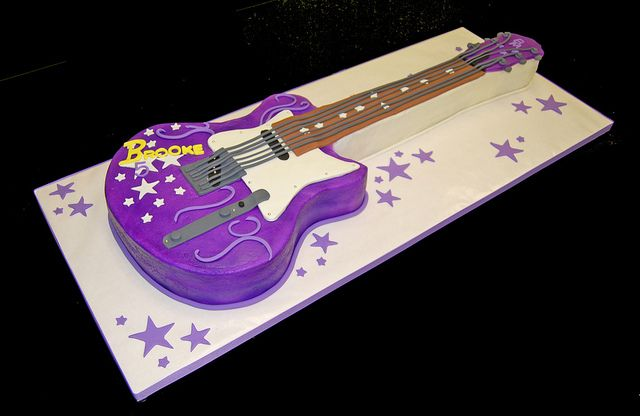 Guitar Cake Images With Name : 5th birthday purple guitar cake for a rock star themed ...