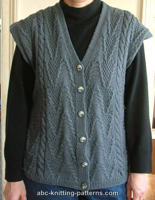 ABC Knitting Patterns - Grey Vest with Cables