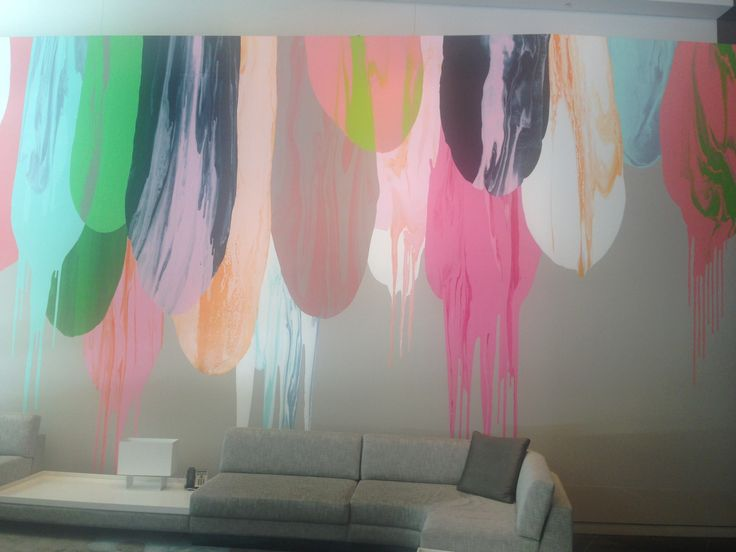 Exaggerated abstract paint feature wall at Crown Metropol.