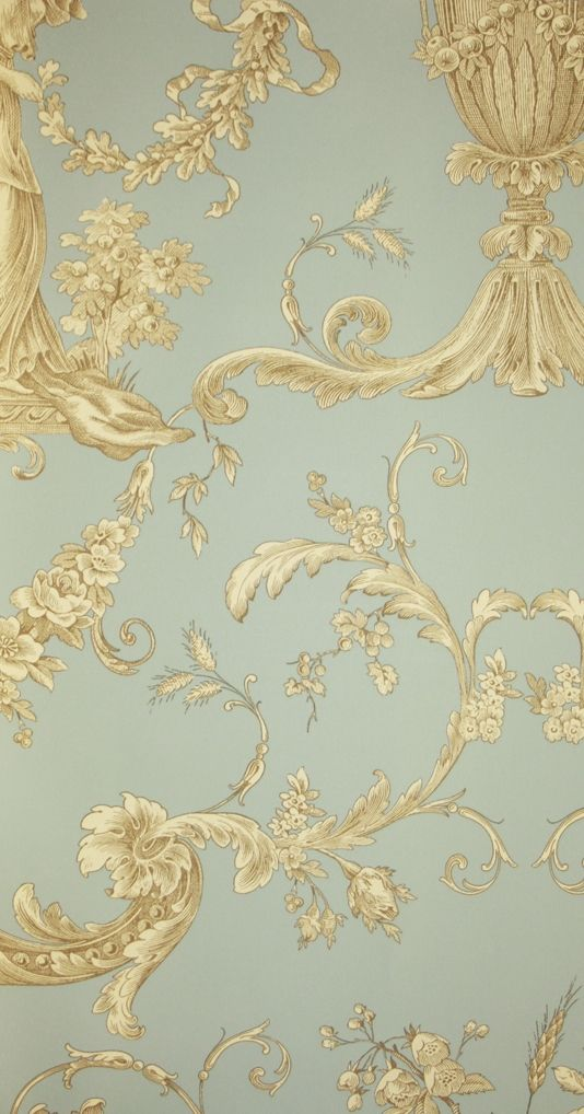 Biltmore Wallpaper An elegant toile de jouy wallpaper in a with urns and cherubs in browns on aqua blue