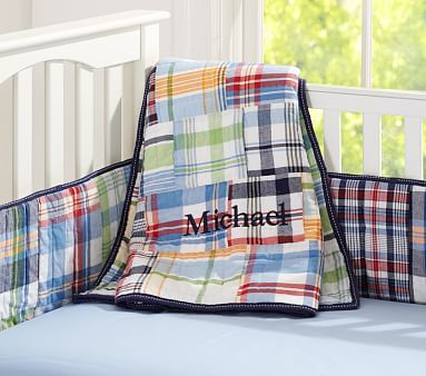 Madras Nursery Bedding this would contrast the black crib and pull in the green from your dr. Seuss quote, we have navy star sheets or grey star sheets to keep the space theme going.