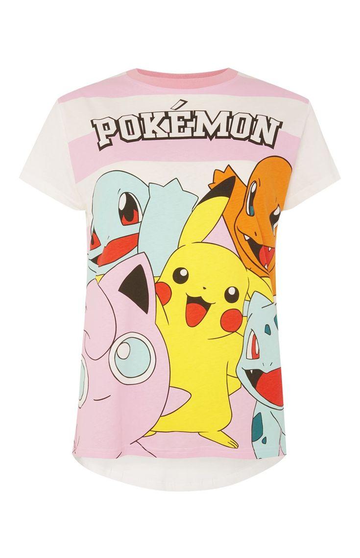 Gestreepte pyjamatop met Pokemon-print